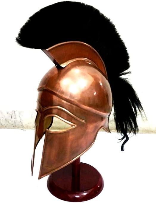 THORINSTRUMENTS (con dispositivo) Casco de Corintio Espartano Griego Medieval con Plume Negro Casco de Armadura Antigua Réplica: Amazon.es: Deportes y aire libre