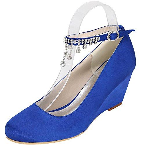 LOSLANDIFEN Womens Wedges High Heels Closed Toe Pumps Satin Wedding Bridal Shoes Blue XaWJAq