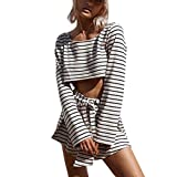 Sunward Women's 2 Piece Outfits Casual Stripe Crop Tops Shorts Set Beach Rompers Playsuits (White, S)
