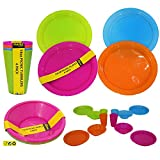 12 pc Picnic Set Bowls Picnic Plates Bright Colour Sets Camping Kids Party Supplies NEW