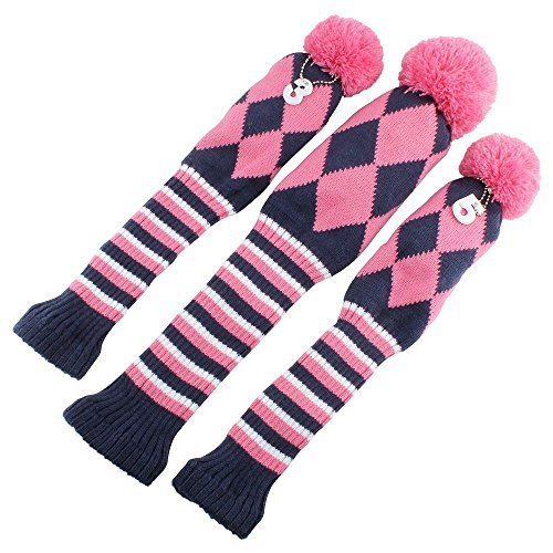 (Knit 3pcs Headcover Set Vintange Pom Pom Sock Covers 1-3-5 Pink & White NEW)