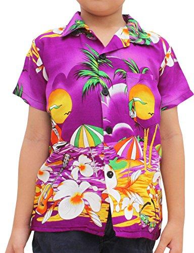 Raan Pah Muang Childrens Hawaiian Shirt in Summer Printed Rayon Seaside Beach Fun, 1-3 Years, Purple