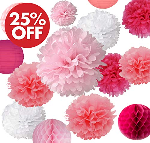 AVAbay Hanging 20pcs Party Tissue Decoration Set for Birthday, Baby Shower, Wedding-Pink Décor- (Paper Flowers Pom Poms, Lanterns, Honeycombs) (Deep Pink, Rose, Peach and White) + Free Ebook