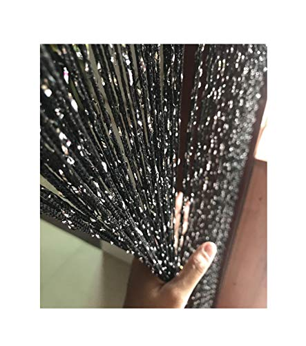 Eyotool 1x2 M Door String Curtain Rare Flat Silver Ribbon Thread Fringe Window Panel Room Divider Cute Strip Tassel for Wedding Coffee House Restaurant Parts, Black -