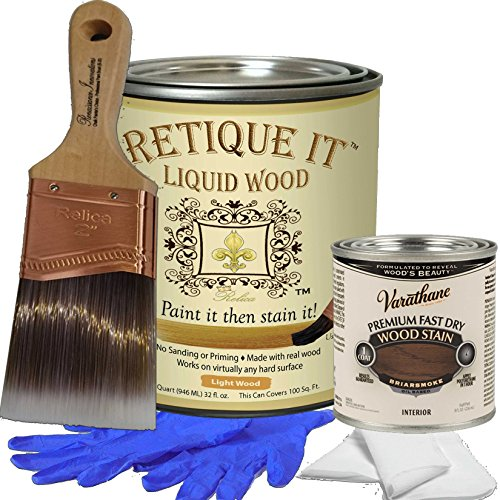 Retique It Liquid Wood - Quart Kit with Briarsmoke Wood Stain - Paint it then stain it - Stainable Wood Fiber Paint - Put a fresh coat of wood on it (32 oz Quart Kit with Briarsmoke Stain)