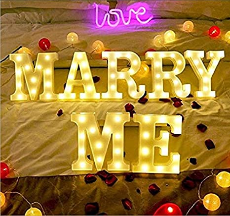 Living Room Light Up Letters,Neon Number Sign Wall Decorative Neon Lights Warm White Letter Lights Night Lamp for House Bar Pub Hotel Kids Room Birthday Wedding Party Decor Marry Me