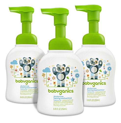 - Babyganics Alcohol-Free Foaming Hand Sanitizer, Fragrance Free, 8.45oz Pump Bottle (Pack of 3)