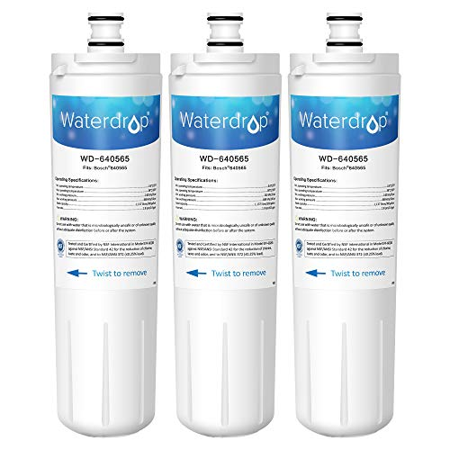 Waterdrop 640565 Refrigerator Water Filter, Compatible with Bosch 640565, EVOLFLTR10 AP3961137, Whirlpool WHKF-R-Plus, Pack of 3