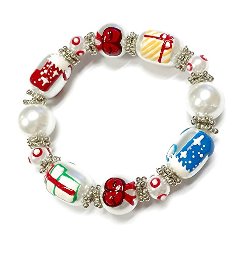 Linpeng 3D Hand Painted Glass Beads Christmas Stretch Bracelet in Bag, Pearly White