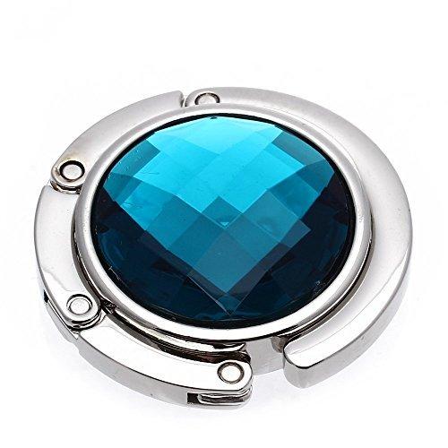 GONO plegable tipo cartera bolso de mano bolsas de cristal soportes gancho percha Hold Niñas turco azul Portable