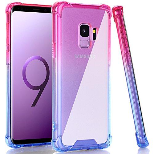 BAISRKE Galaxy S9 Case, Shock Absorption Flexible TPU Soft Edge Bumper Anti-Scratch Rigid Slim Protective Cases Hard Plastic Back Cover for Samsung Galaxy S9 - Pink Blue Gradient