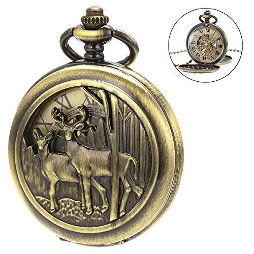 SIBOSUN Pocket Watch with Chain Deer Reindeer Woodland Men Smooth Back Case Bronze Mechanical Skeleton