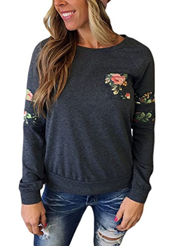 Dearlovers Womens Casual Long Sleeve Floral Print Pullover Sweatshirt