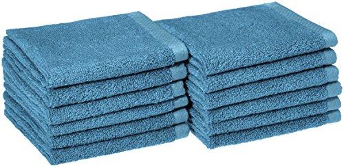 AmazonBasics Quick-Dry Bathroom Washcloth, 100% Cotton, Set of 12, Lake Blue