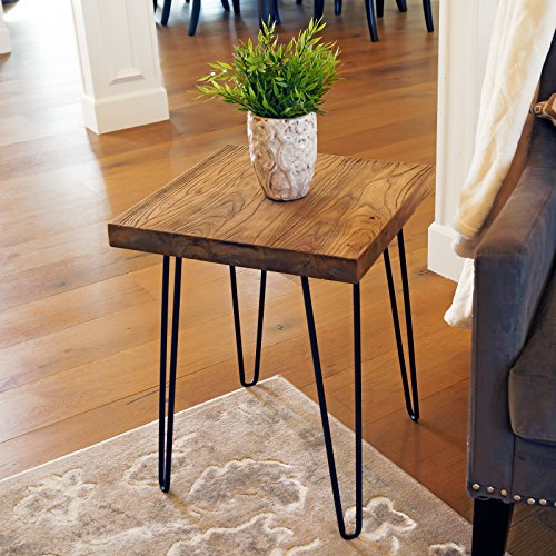 WELLAND Square Old Elm Wood End Table Rustic Surface Side Table (Modern Natural Table Wood)