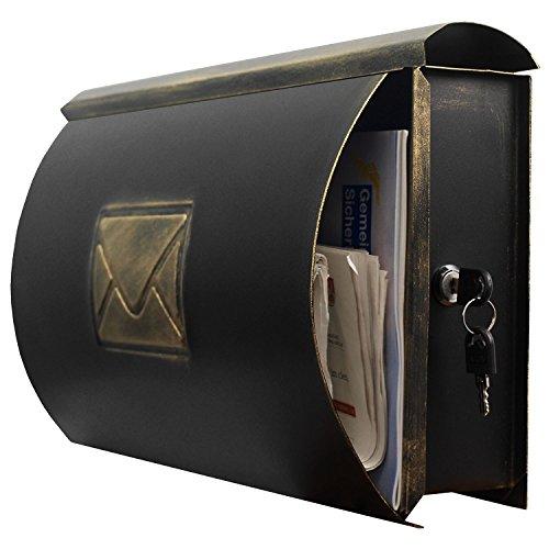 Wand Briefkasten Wandbriefkasten Postkasten Mailbox mit Zeitungsrolle Zeitungsfach Zeitungsbox / Gold