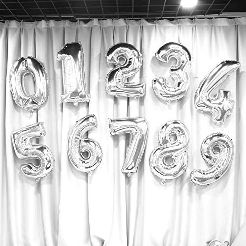 30 pulgadas N/úmero de plata Globos de aluminio D/ígitos Globos de aire Fiesta de cumplea/ños Decoraci/ón de bodas Aire Baloons Suministros para fiestas Plata