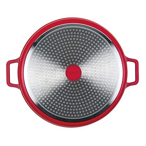 """MasterPan Non-Stick Stovetop Oven Grill Pan with Heat-in Steam-Out Lid, nonstick cookware, 12"""", Red, Salted Salad"""