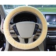 Steering wheel cover - SODIAL(R)Steering wheel cover Fluffy Furry Fur - Beige