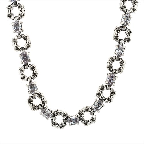 Sterling Silver Cubic Zirconia Alexandrite Donut Marcasite Necklace, 16 inch long by Sabrina Silver