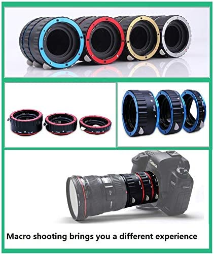 MeterMall New Metal Mount Lens Adapter Auto Focus AF ro Extension Tube Ring for Canon EOS EF-S Lens 750D 80D 7D T6s 60D 7D 550D 5D Mark IV Blue
