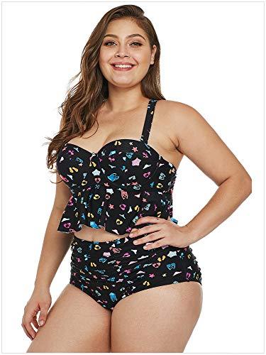 Due Motivo Bikini Creativo Da Black Xxxl Costume Dimensioni Alta Bagno Vita Pezzi Basso Colore A Di Taglio Grandi Sexy Donna Arricciato Patterns Dimensione Stampato rqqw4vn0p