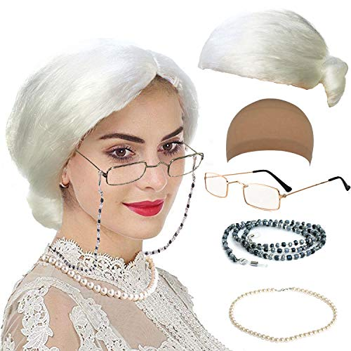 Old Lady Costume Characters Set - Old Lady/Mrs. Santa Wig, Madea Granny Glasses, Eyeglass Chains Holder and Cords Strap,FauxPearl Beads Choker Necklaces (Style-3) -