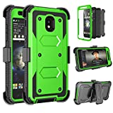 Tinysaturn Samsung Galaxy J7 2018 Case, For Galaxy J7 Aero/J7 Aura/J7 Top/J7 Crown/J7 Refine Case, [Yvenus] Heavy Duty Shockproof Holster Belt [Built-in Screen Protector] Kickstand Cover - Grass Green
