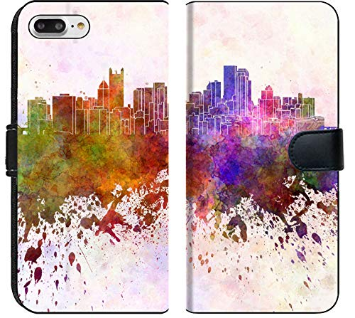 Luxlady iPhone 8 Plus Flip Fabric Wallet Case Image ID: 32008386 Pittsburgh Skyline in Watercolor Background