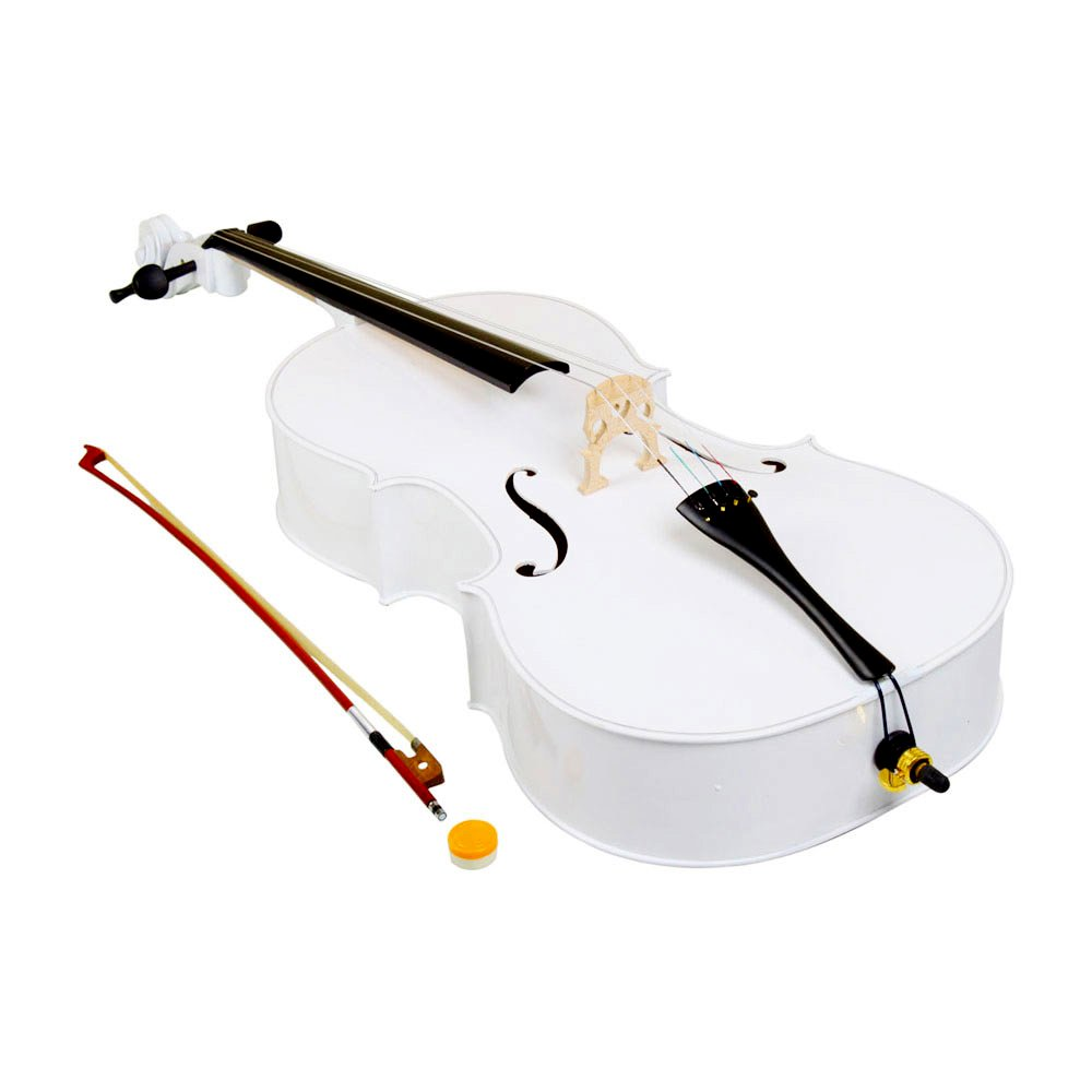 4/4 Acoustic Cello + Case + Bow + Rosin Wood Color Beautiful Varnish Finishing (White) by Lykos (Image #3)