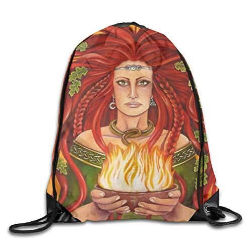 (Imbolc Brigid Flame Goddess Celtic Blessing Patterned Themed Printed Drawstring Bundle Book School Shopping Travel Back Bags Draw String Gym Backpack Bulk Girl Boy Women Men )
