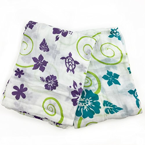- Hawaiian 2 Pack Muslin Swaddle Blankets - Made from Organic Cotton