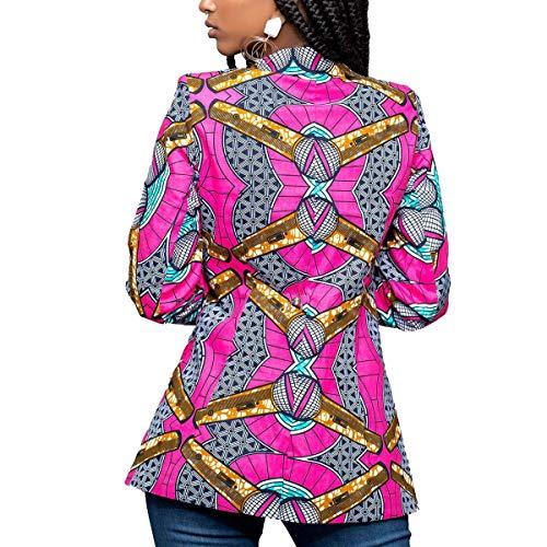 mujer Red Color ZFFde mangas con la Gire estampada cuello Yellow chaqueta para Invierno tamaño africana Dwon XL largas Chaqueta de BqCxqfwg