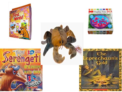Children's Gift Bundle - Ages 3-5 [5 Piece] - Scooby-Doo. First Words Card Game - Create Your Own Princess Stepping Stone Kit Toy - Ty Beanie Baby - Claude the (Scooby Doo 3 Piece)