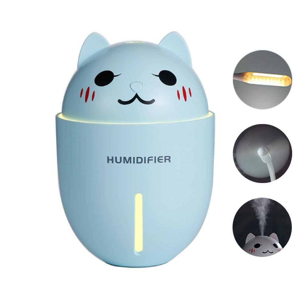 Pawaca USB Mini Humidifier, 3 in 1 320ml Portable Mist Humidifier Air Diffuser with Fan and Night Light for Home, Car, Office(Blue)