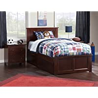 Contemporary Twin XL Bed with 2-Urban Bed Drawer (Walnut Finish)