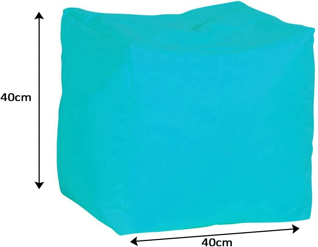 Bonkers Polyester Stool Bean Bag Water Resistant with Flakes Filling, 40 x 40 x 40 cm, 1-Piece, Light Blue Light Blue
