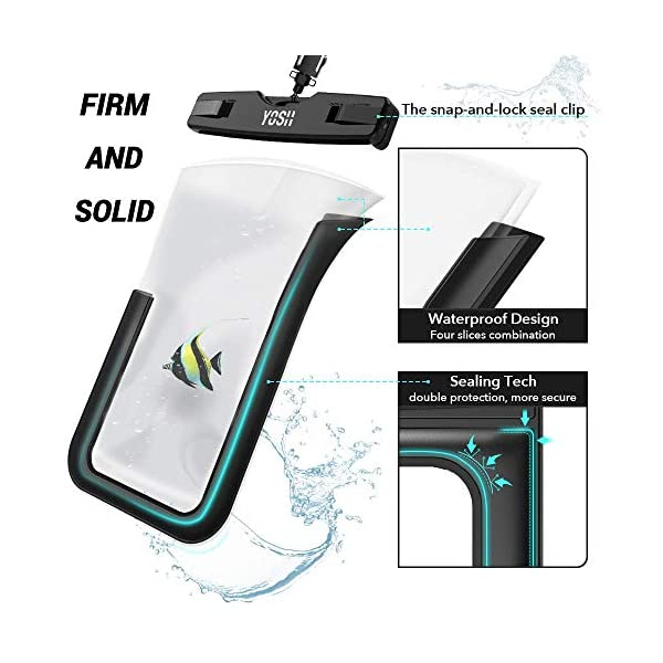 YOSH Funda Impermeable Móvil Universal 2 Unidades, IPX8 Certificado, Bolsa Sumergible para iPhone X 8 7 6s Samsung J5 J3 J7 S8 S9 Huawei P20 P10 P9 y Otros Móviles hasta 6.3 Pulgadas 2