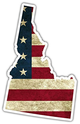 "Idaho State Shaped US Flag American Flag Vinyl Bumper Sticker Decal 3""X 5"""