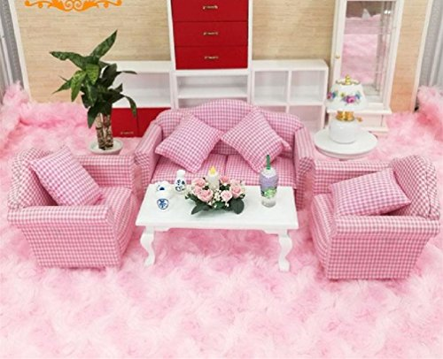 Amazon.com: Dollhouse 1:12 Miniature Living Room Furniture Pink ...