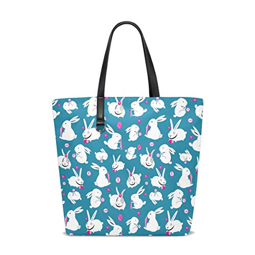 Women's Work Tote Soft Leather Easter White Bunnies With Carrots Blue Shoulder Bag
