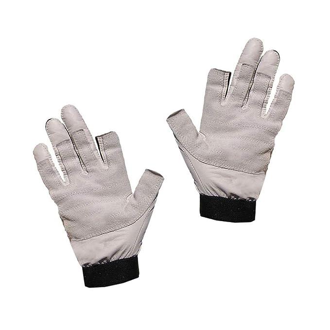 Blueport Segelhandschuhe aus Leder Handschuhe Segeln robust 2 Finger frei Bootsport Handschuhe