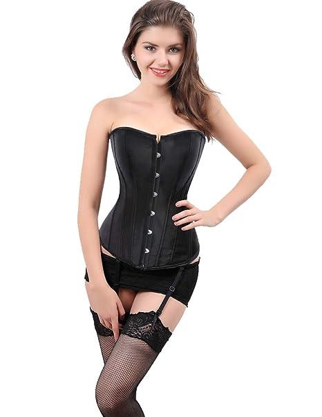 a585ba591db SAYFUT Womens Lace Up Boned Overbust Corset Sexy Torso Hourglass Body  Shaper Waist Cincher Bustier Top
