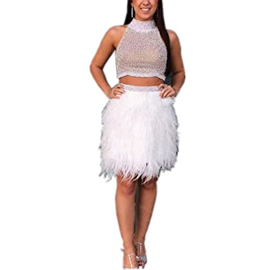 LeoGirl Womens Beaded Two Piece Short Prom Dresses with Feather Skirt Homecoming Cocktail Party Dress at Amazon Womens Clothing store: