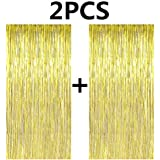 FECEDY 2pcs 3ft x 8.3ft Gold Metallic Tinsel Foil Fringe Curtains Photo Booth Props for