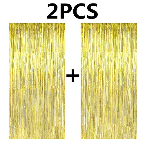 FECEDY 2pcs 3ft x 8.3ft Gold Metallic Tinsel Foil Fringe Curtains Photo Booth Props for Birthday Wedding Engagement Bridal Shower Baby Shower Bachelorette Holiday Celebration Party Decorations]()
