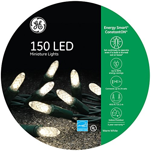 GE Energy Smart 150 LED 49ft Constant Warm White Mini LED Christmas String Light