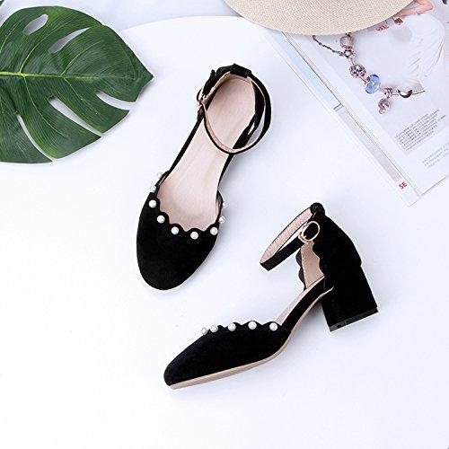 GAOLIM Baotou Sandalias Femeninas Con Gruesos Con Alumnos De Tacón Alto De Amarre Ranurada Bordada Hadas Zapatos Negro