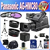 Panasonic AG-HMC80 3MOS AVCCAM HD Shoulder-Mount Camcorder + Extended Life Battery + 32GB SDHC Class 10 Memory Card + Accessory Saver Bundle!