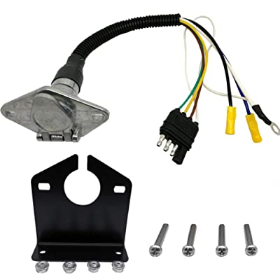 "NEW SUN 4 Way Flat to 6 Way Round Connector Trailer Light Pre-Wired Adapter 12"" Harness with Mounting Bracket: Automotive"